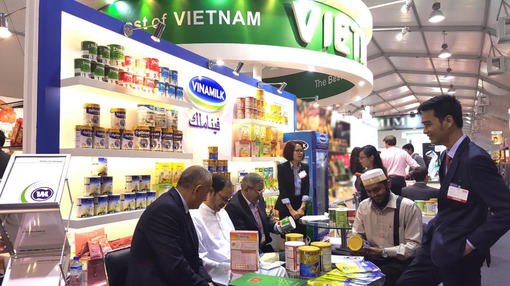 Là thương hiệu quốc gia, Vinamilk luôn tạo được  ấn tượng khi tham gia các Hội chợ, Triển lãm quốc tế 2020. Ảnh: Vinamilk cung cấp