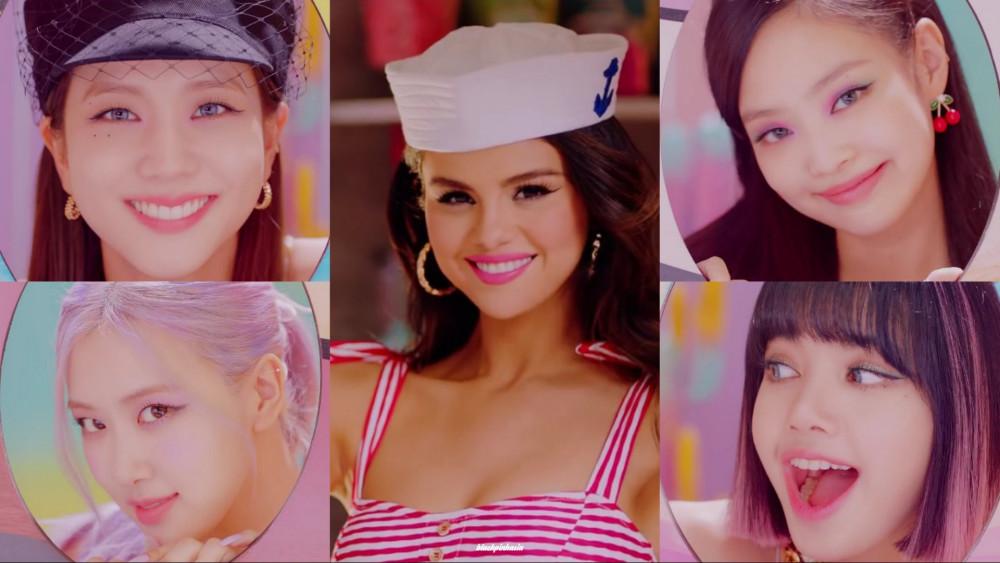Selena Gomez (ở giữa) và 4 thành viên nhóm nhạc Blackpink.