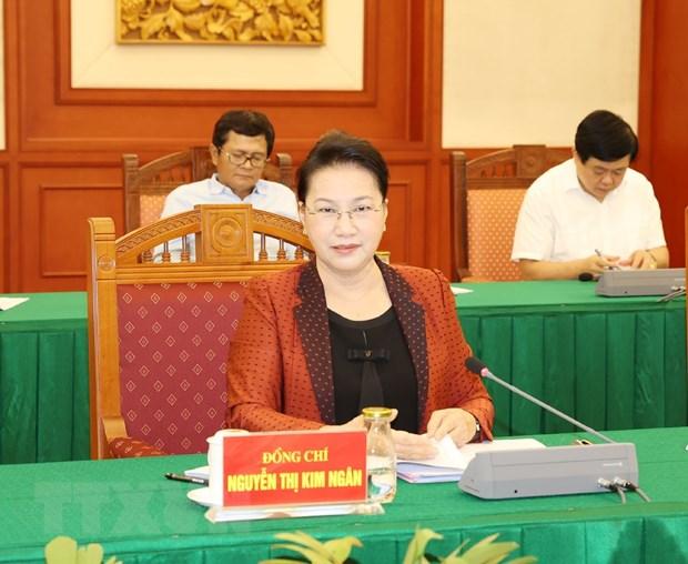 Ủy viên Bộ Chính trị, Chủ tịch Quốc hội Nguyễn Thị Kim Ngân phát biểu tại cuộc họp - Ảnh: TTXVN