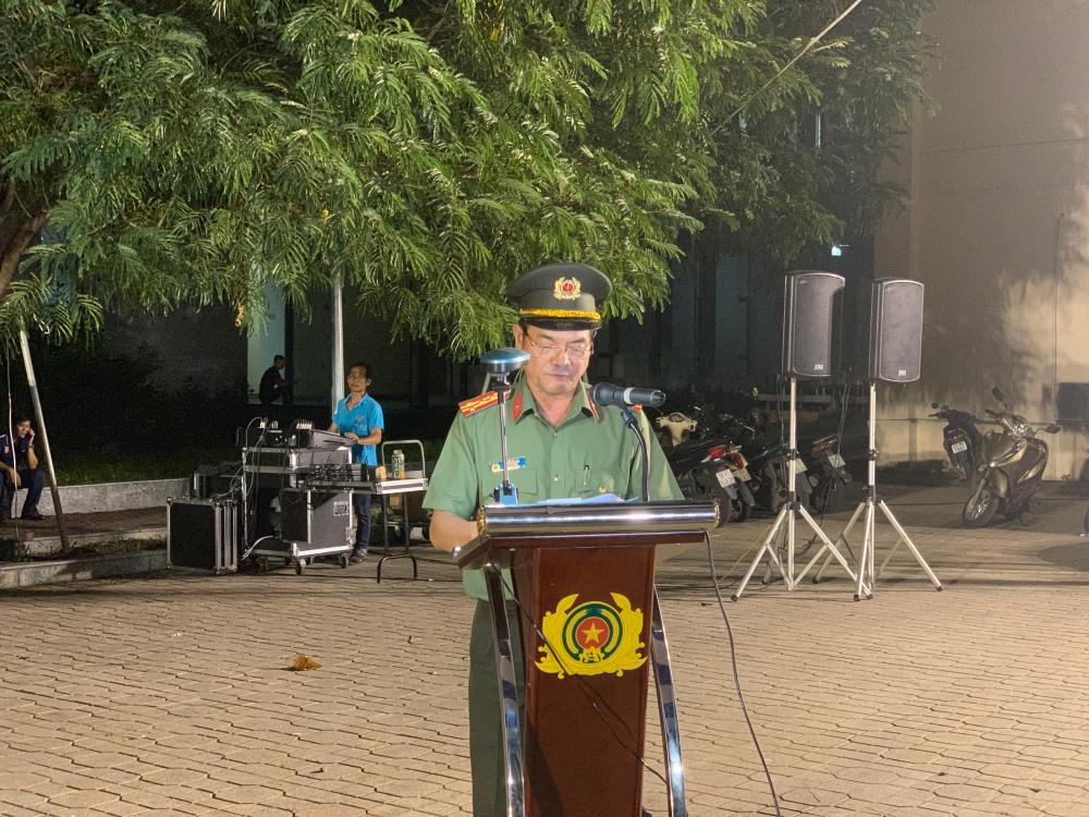 Đồng chí Lê Hồng Nam tại buổi phát biểu ra quân trấn áp tội phạm tại trụ sở Công an TPHCM vào giữa tháng 7-2020
