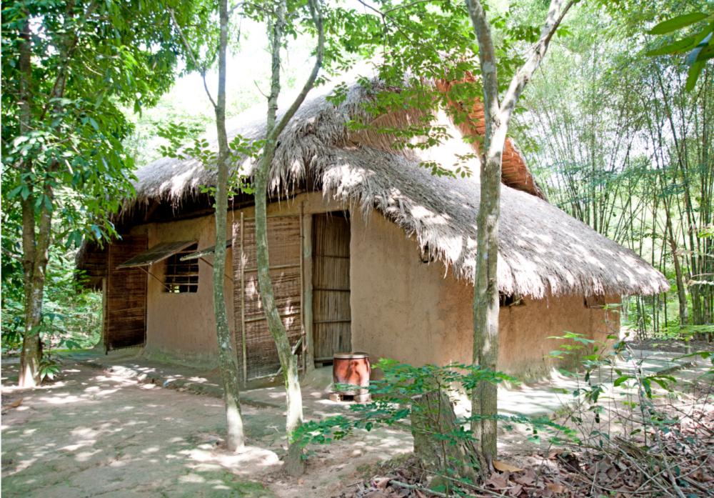 Một nếp nhà gỗ mái ngói xưa giữa không gian xanh mướt của một làng quê ngoại ô với những ngõ trúc.