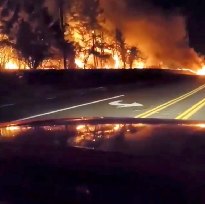 Thảm thực vật bốc cháy dọc theo một con đường ở Molalla, Oregon