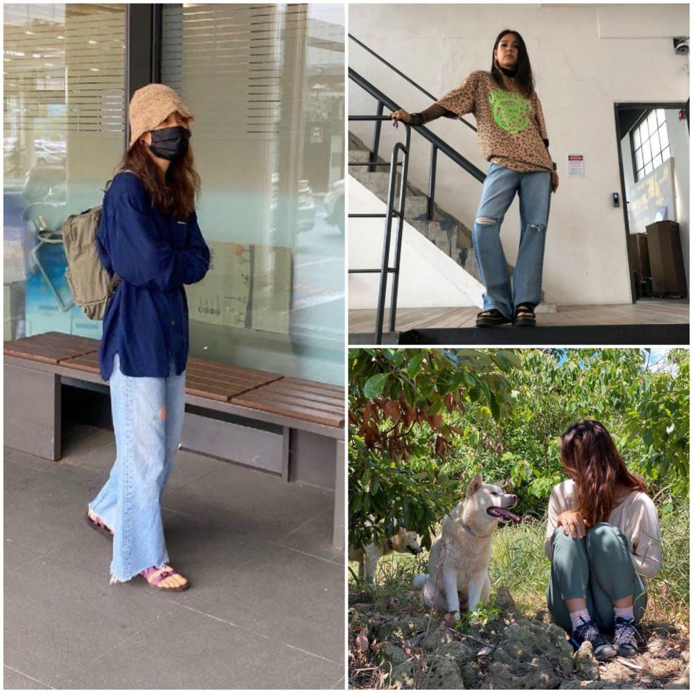 Với tông màu xanh lam, nữ ca sĩ phối quần jean, áo sơ mi và đội một chiếc mũ xô ngắn khá bình thường, phù hợp với những buổi du lịch cùng gia đình và bạn bè.