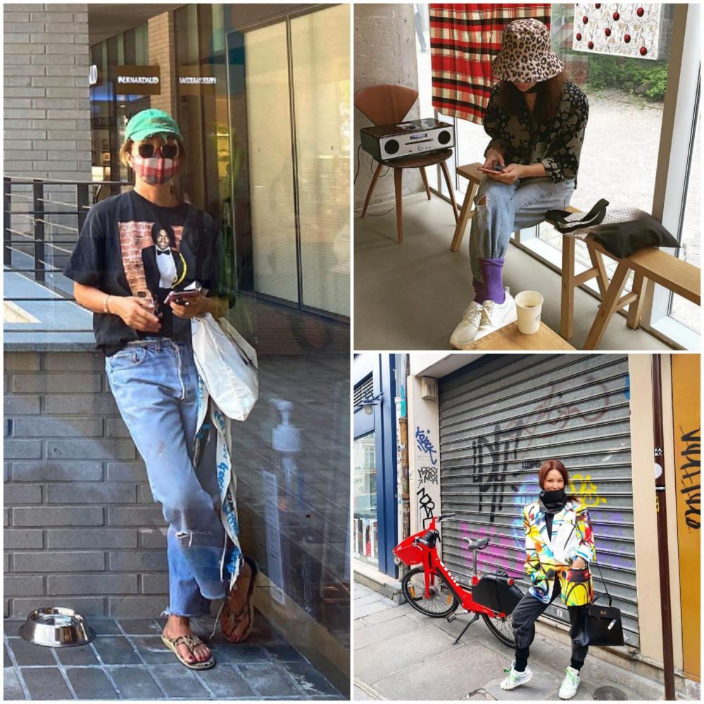 Nữ ca sĩ năng động với quền jean và áo thun khi đi chơi, dạo phố cùng bạn bè.