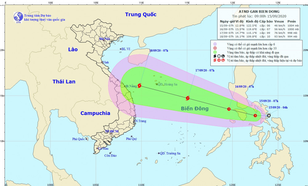 Áp thấp tại biển Đông có nguy cơ mạnh lên