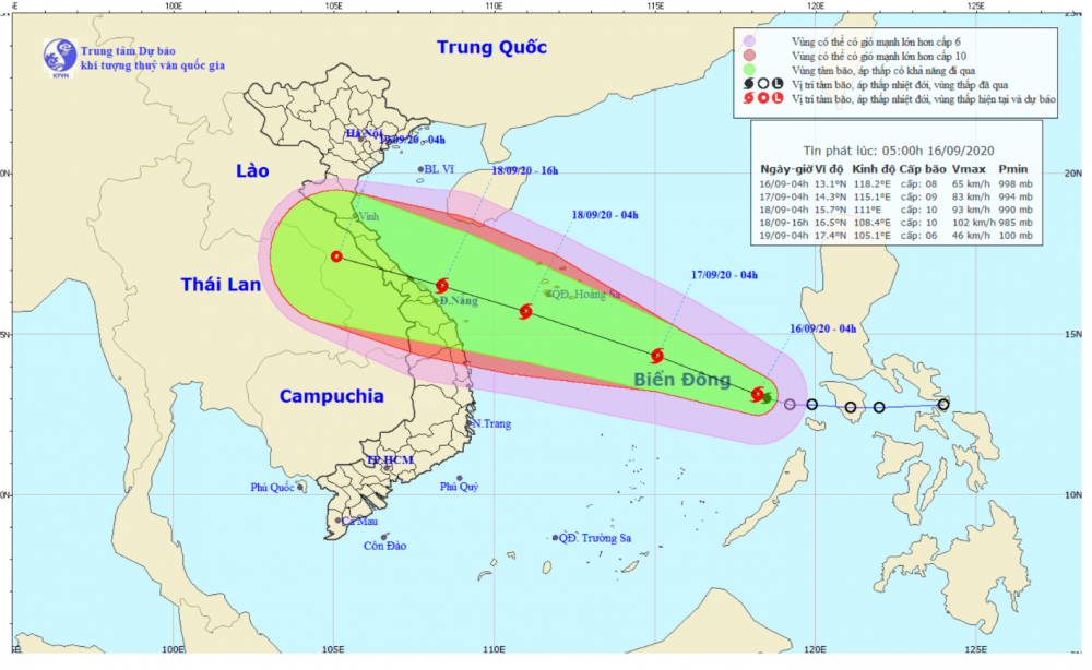Đường đi của bão số 5. Ảnh: Đài KTTV khu vực Nam Bộ