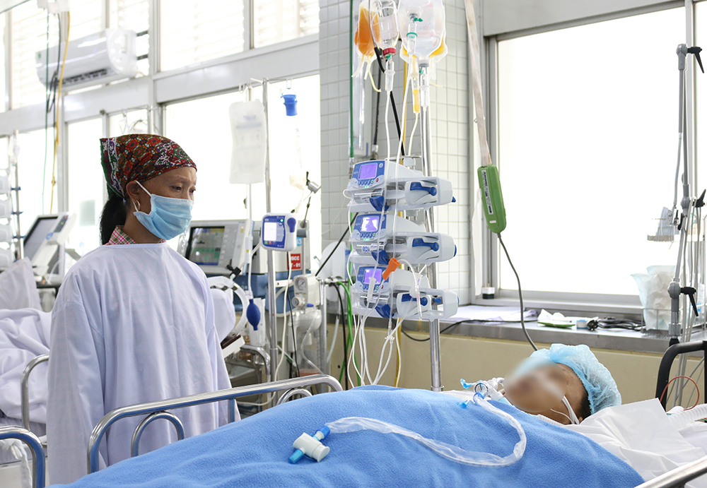 Chị P. sau khi phẫu thuật, ảnh BVCC