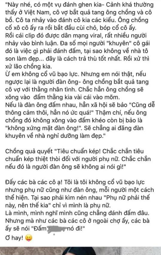 Siêu mẫu Hà Anh bày tỏ quan điểm về chuyện đánh ghen trên Facebook cá nhân. Ảnh chụp từ màn hình