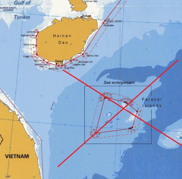 Công hàm của Anh, Pháp, Đức bác bỏ yêu scah1 về đường biên giới thẳng do Trung Quốc vẽ, vây trọn quần đảo Hoàng Sa của Việt Nam.