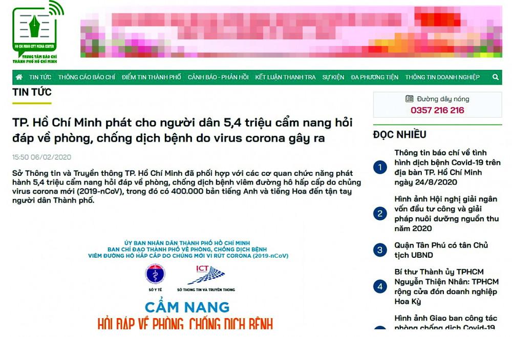 Bản tin đăng ngày 6/2 trên trang web Trung tâm Báo chí TP.HCM