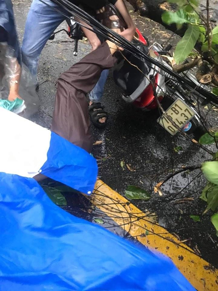 Một phụ nữ bị cây xanh ngã đè trên đường Nguyễn Huệ, thành phố Huế
