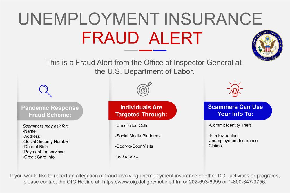 Một cảnh báo về việc gian lận do Sở Phát triển Nhân lực thuộc bang Wisconsin l trong quá trình làm hồ sơ xin hưởng trợ cấp thất nghiệp - Ảnh: wisconsin.gov