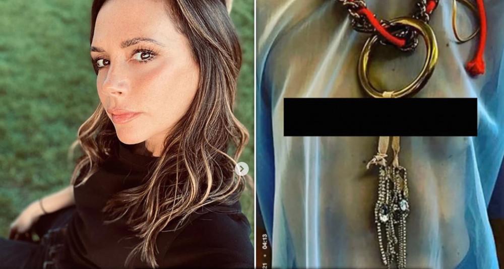 Victoria Beckham và hình ảnh được cắt từ clip (đã được che phần nhạy cảm) mà người đẹp đăng tải