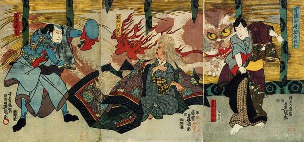 Một Nekomata đang tấn công con người - Tranh của họa sĩ Utagawa Kunisada (1847)