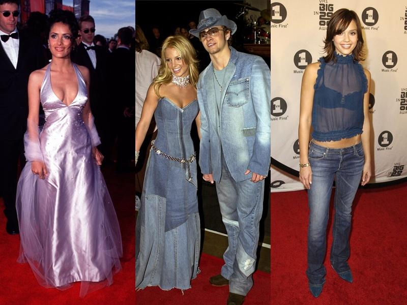 Năm 2000, váy 2 dây chất liệu satin giúp các quý cô khoe vẻ đẹp quyến rũ trở nên phổ biến hơn bao giờ hết. Năm 2001, xu hướng trang phục denim từ đầu đến chân bị ảnh hưởng bởi Britney Spears và Justin Timberlake. Năm 2002, quần jeans cạp trễ được yêu thích. Các tạp chí thời trang cũng dự đoán phong cách này sẽ sớm trở lại.