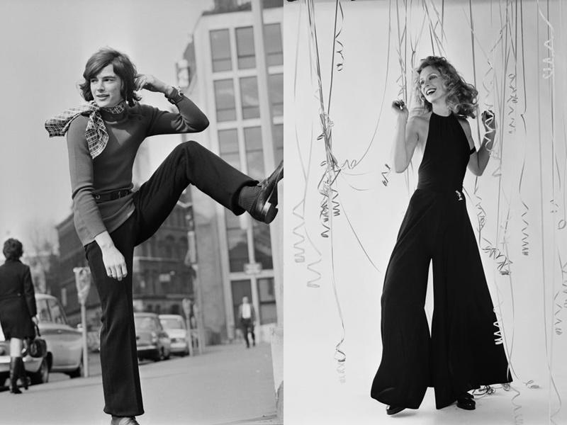 Năm 1970: Những chiếc quần lấy cảm hứng từ hippie và áo sơ mi kiểu mod trở nên phổ biến hơn. Nam giới ở thời bấy giờ mặc quần ống rộng, áo cổ lọ và thắt khăn. Năm 1971, những đường viền cổ áo hai dây trở nên hợp thời trang trở lại.