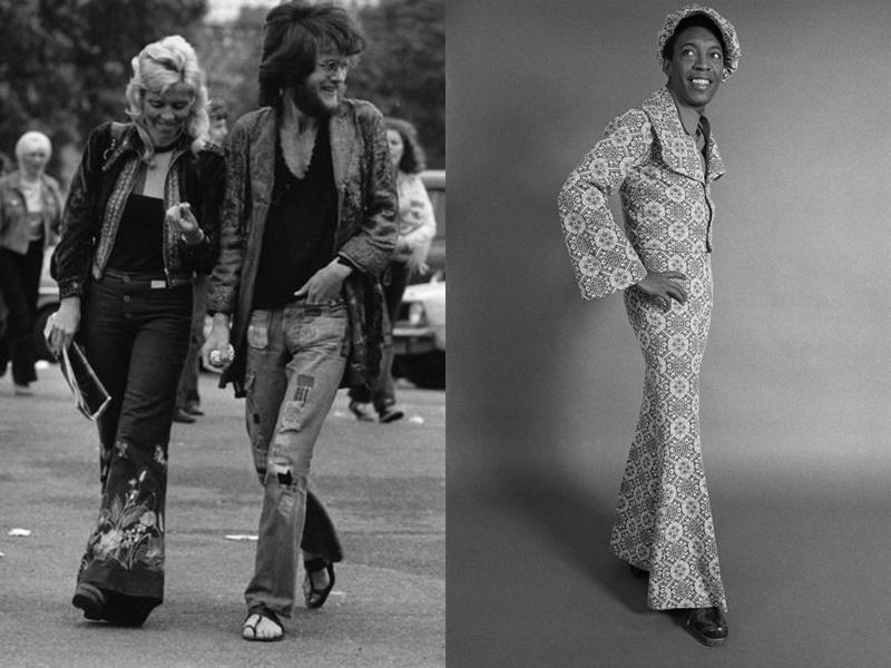 Năm 1972: xóa nhòa ranh giới giữa thời trang nam và nữ. Thay vì theo một xu hướng duy nhất, mọi người hướng đến cách ăn mặc thể hiện cá tính của họ. Năm 1973: Phong cách disco bắt đầu xuất hiện trong ngành thời trang, nam giới thường mặc quần đáy chuông và giày bệt.