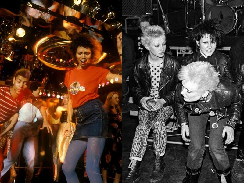 Năm 1978: Trang phục dành cho những buổi khiêu vũ ''lên ngôi''. Nhạc disco tiếp tục trở nên phổ biến vào cuối những năm 70 và việc phát hành những bộ phim như Saturday Night Fever đã cho phép xu hướng thời trang lấy cảm hứng từ âm nhạc tiếp tục phát triển mạnh mẽ. Năm 1979 các cô gái thể hiện cá tính bằng những bộ cánh làm bằng da, jeans rách với văn hóa Punk du nhập từ Anh quốc.