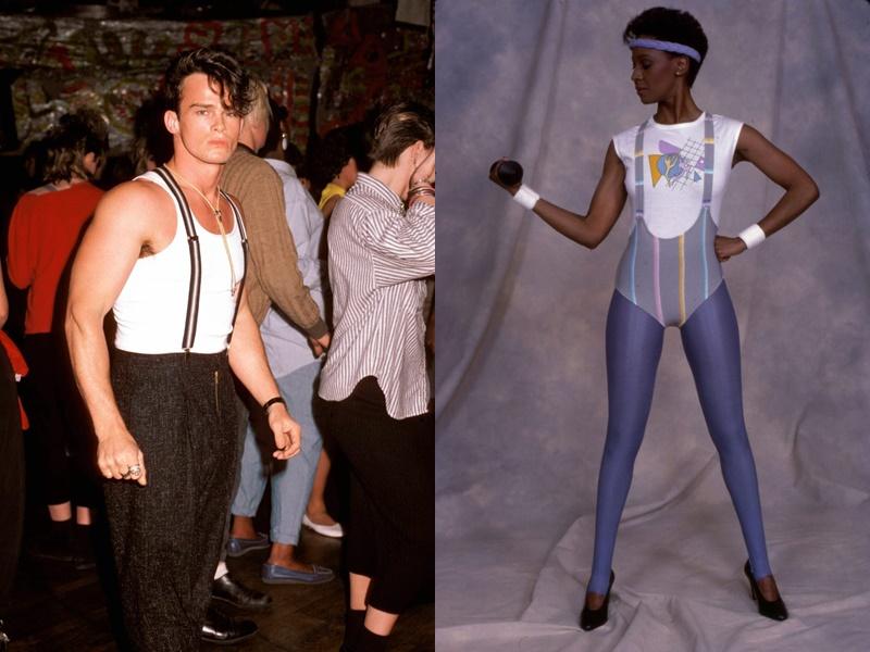 Năm 1987: Nam giới mặc quần tây kết hợp với dây đeo đai qua vai, bên trong có thể là áo ba lỗ hoặc áo thun. Năm 1988: Phụ nữ phối quần áo thể thao vào trang phục hàng ngày của họ.