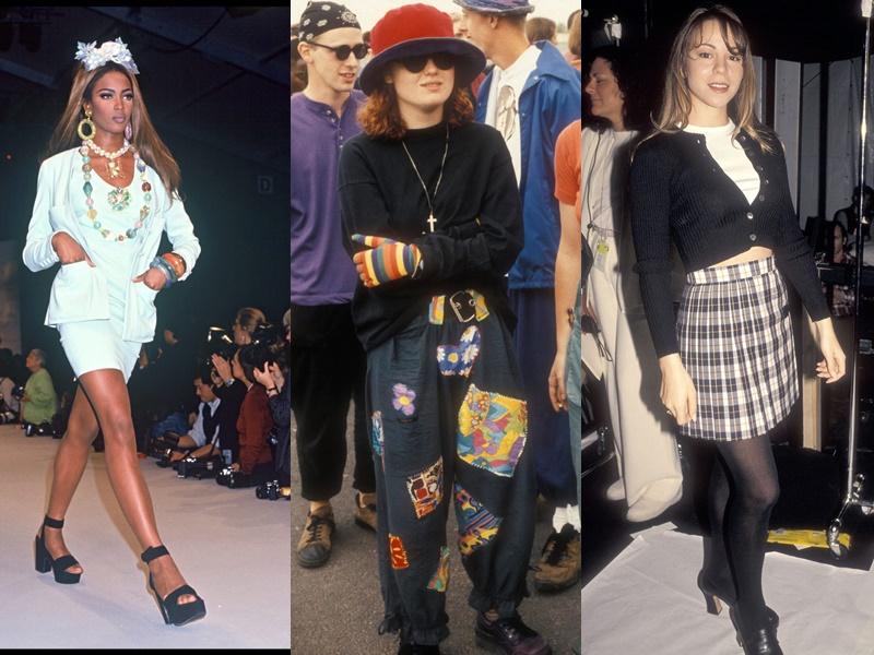 Năm 1992: xu hướng giày platfrom trở lại, đây là phong cách cổ điển những năm 60. Năm 1993, quần yếm có mặt khắp mọi nơi và được cả nam lẫn nữ ưa chuộng. Có nhiều kiểu dáng quần yếm phù hợp với từng mùa trong năm. Năm 1994, họa tiết kẻ sọc phổ biến hơn bao giờ hết, bản in nổi bật nhất của xu hướng này nhờ các nhạc sĩ