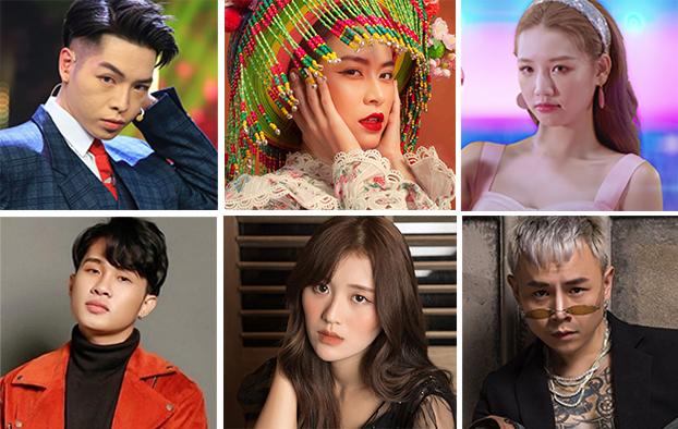 Nhóm 6 ca sĩ lot vào danh sách bầu chọn Nghệ sĩ của năm (từ trên xuống, từ trái qua phải): Đức Phúc, Hoàng Thuỳ Linh, Amee, Jack, Han Sara, Binz.