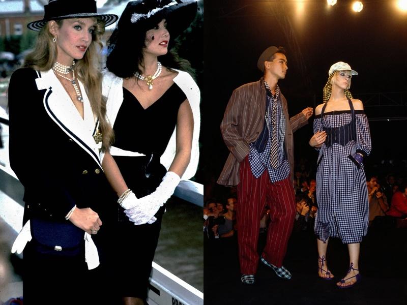 Năm 1982: Hai sắc màu trắng và đen kết hợp mang lại vẻ ngoài hiện đại, sành điệu cho các quý cô thời bấy giờ.  Năm 1982: Hai sắc màu trắng và đen kết hợp mang lại vẻ ngoài hiện đại, sành điệu cho các quý cô thời bấy giờ. Năm 1984, quần ống rộng họa tiết kẻ sọc được cả nam và nữ lăng xê.