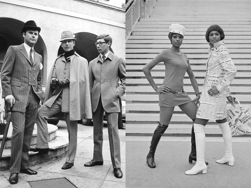 Năm 1968: Các quý ông yêu thích phong cách lịch lãm lấy cảm hứng từ bộ phim Bonnie and Clyde. với những bộ đồ họa tiết kẻ sọc kết hợp với mũ đồng màu. Phụ nữ năm 1969 bắt đầu thay quần tất nhiều màu sắc cho những đôi bốt cao đến đầu gối.  Nhiều đôi giày từ thời kỳ này có phần gót ngắn và chunky, được làm bằng da, và chỉ cao trên đầu gối.