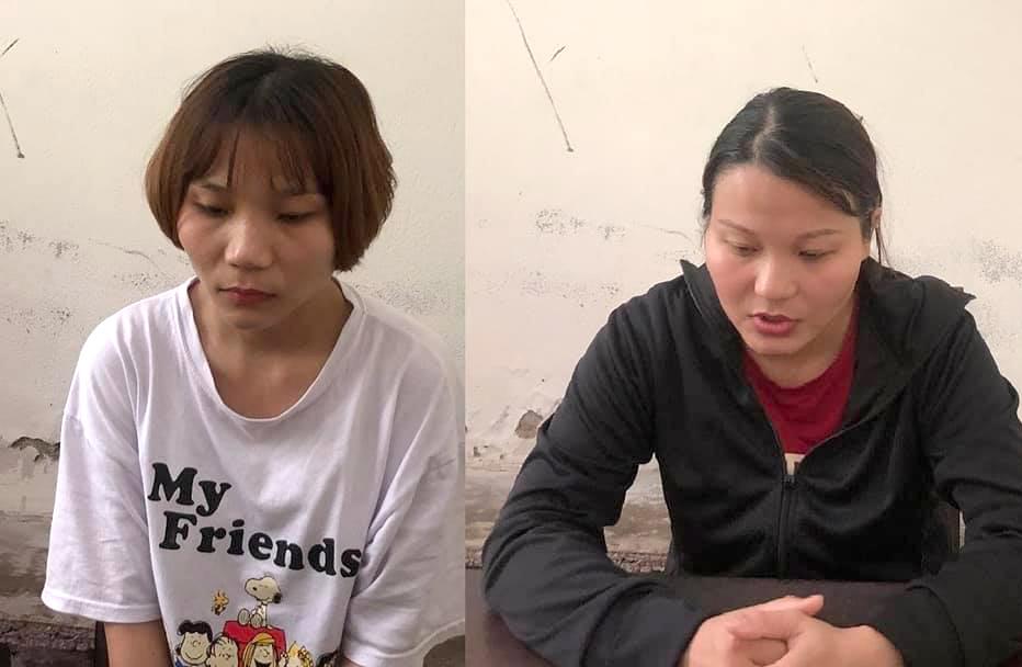 Hai chị em Trang tại cơ quan công an