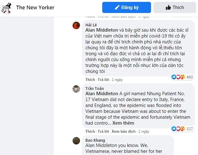 Nhiều chỉ trích gay gắt hướng về chị em N.N, N.H.N về sự dối trá và vô ơn của họ với con người & đất nước Việt Nam. Ảnh chụp màn hình facebook