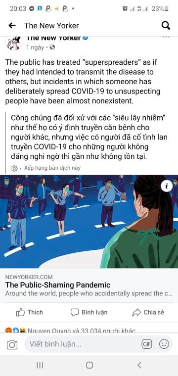 Bài phỏng vấn chị em N.N, N.H.N của báo The New Yorker vừa giới thiệu trên Fanpage đã bị cộng đồng người Việt tại Mỹ chỉ trích dữ dội. Ảnh chụp màn hình facebook