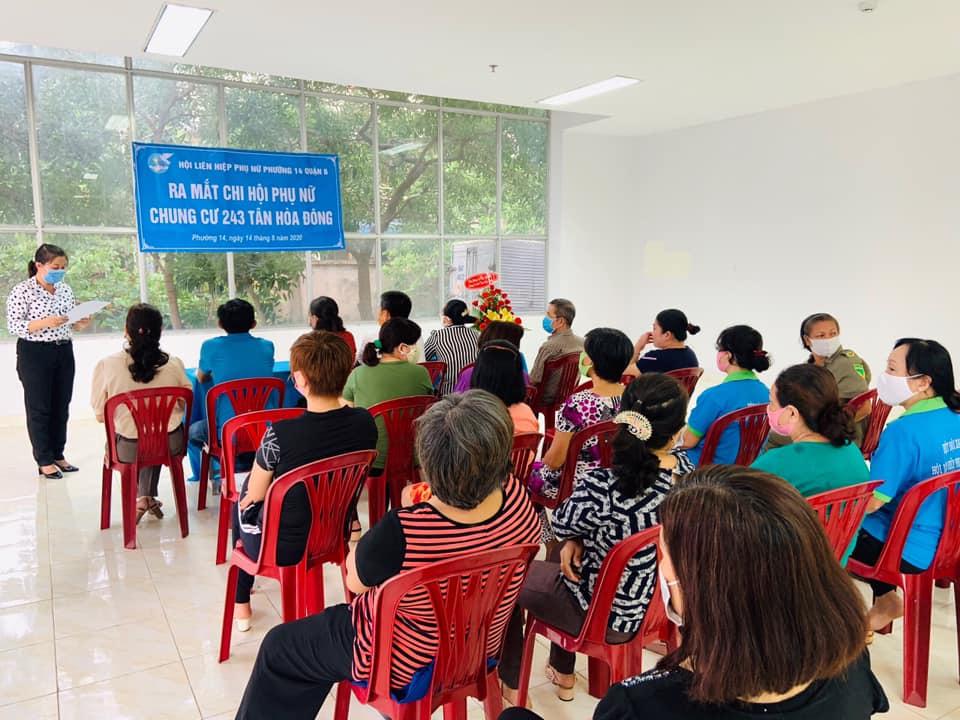 Bằng việc vận động, xây dựng và ra mắt chi hội phụ nữ Chung Cư 243 Tân Hòa Đông, Hội LHPN P.14, Q.6 thêm một kênh để tập hợp chị em tham gia hoạt động- Ảnh: Thăng Long