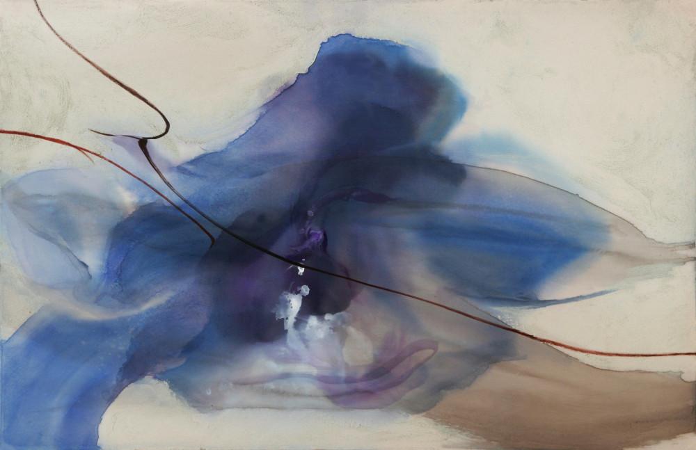 Tác phẩm Đông đến (acrylic ink trên lụa, 62x90cm, 2019)