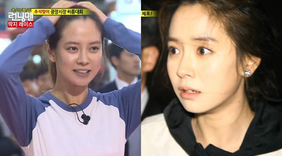 Làn da của Song Ji Hyo khi để mặt mộc không có chút tì vết nào.