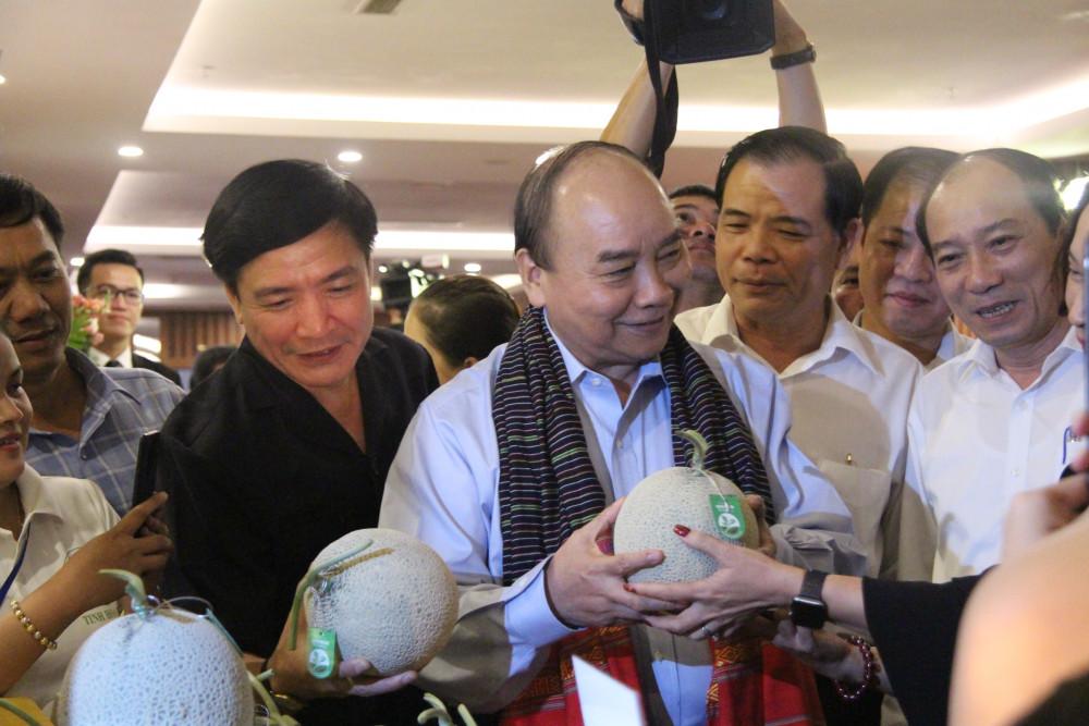Thủ tướng thăm các gian hàng trong chương trình hội nghị