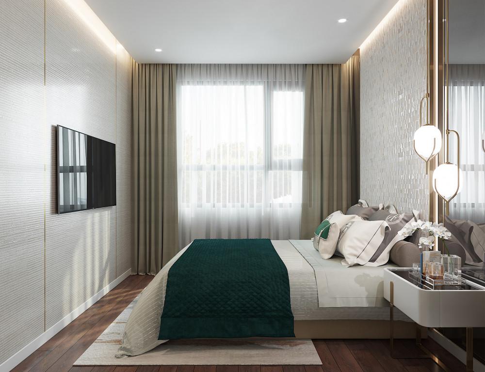 Phòng ngủ đón ánh sáng tự nhiên tràn qua cửa sổ
