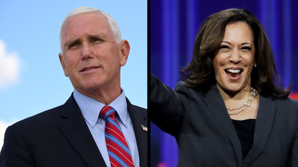 Bà Kamala Harris và ông Mike Pence trong phiên tranh luận Phó tổng thống diễn ra đêm thứ Tư (7/10) - Ảnh:  USA Online