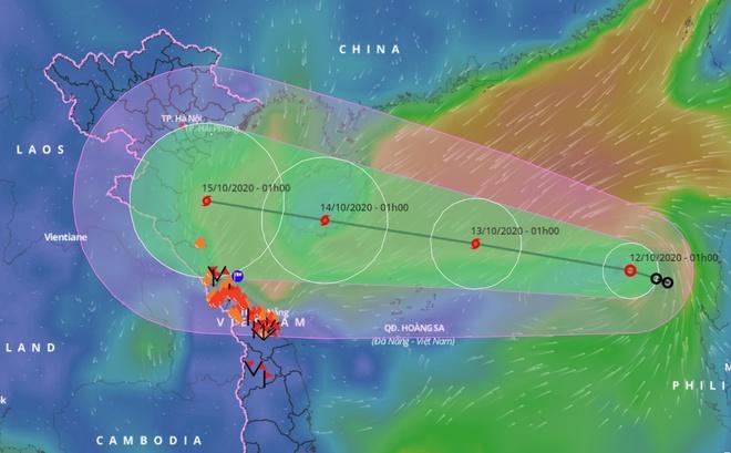 Đường đi của áp thấp nhiệt đới, dự