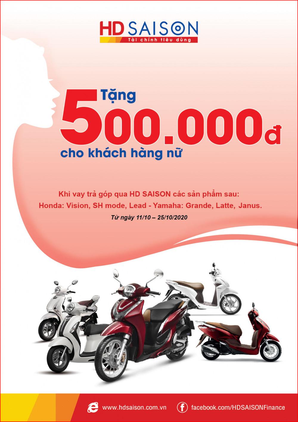 Nhận quà tặng lên đến 500.000 đồng khi trả góp xe máy qua HD SAISON