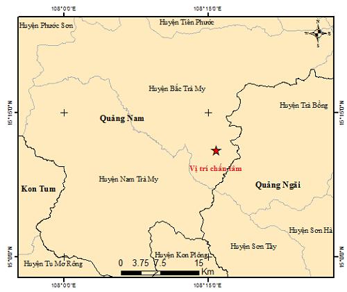 Bản đồ tâm chấn động đất ở huyện Bắc Trà My