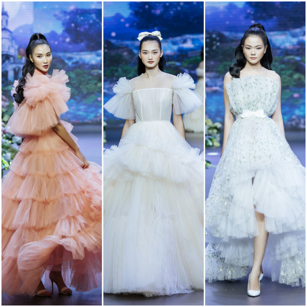 Kế tiếp, NTK Nguyễn Minh Công tiếp tục trình làng những bộ cánh kiêu kỳ, sang trọng cùng form dáng tinh tế, thể hiện trọn vẹn sự quyến rũ của phái đẹp trong bộ sưu tập Haute couture.