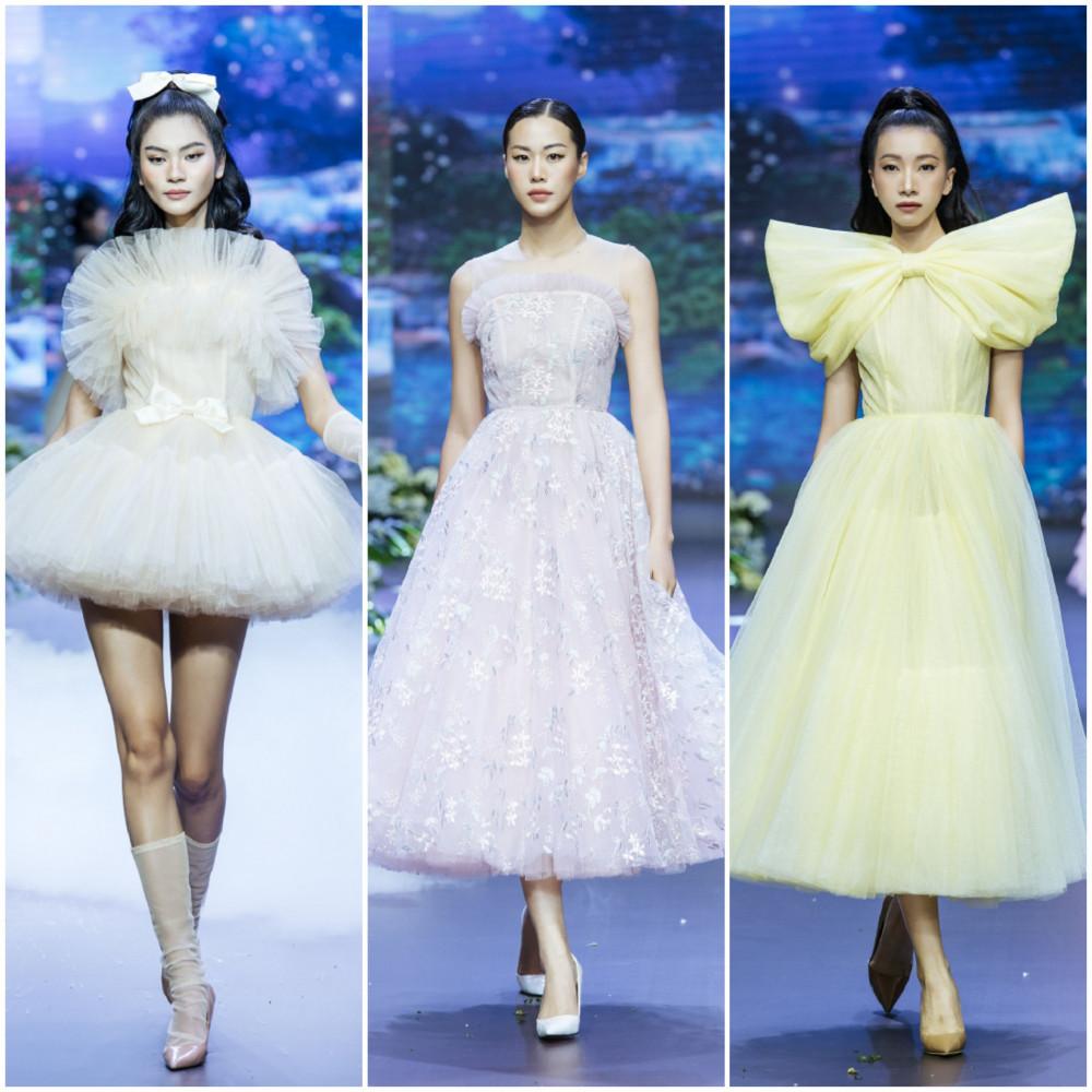 """Bộ sưu tập Ready to wear với những mẫu trang phục """"đầm công chúa"""" mang đậm phong cách đặc trưng của NTK trẻ, vừa mới mẻ, sáng tạo và lãng mạn nhưng vẫn có tính thực tiễn cao dành cho các cô gái yêu thích sự mộng mơ."""