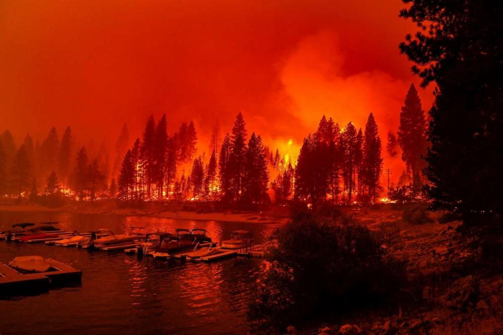 Linh cứu hỏa đốt hành lang thực vật để ngăn cháy rừng khi đám cháy Creek tiến đến gần hồ Marina - Ảnh: Los Angeles Times