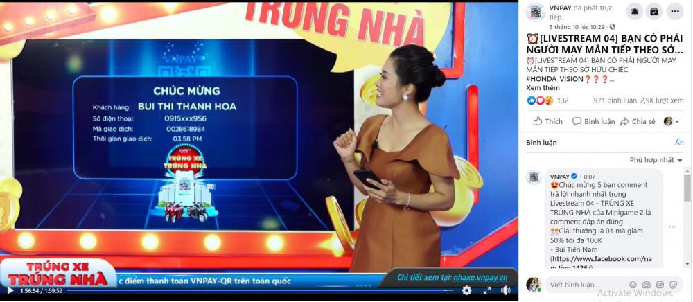 Tên chị Hoa được xướng lên trong livestream quay số trúng thưởng ngày 5/10 trên fanpage VNPAY. Ảnh: VNPAY