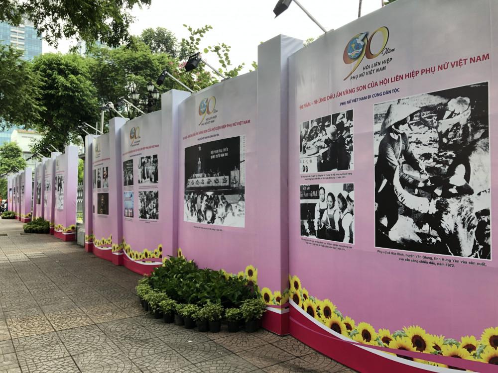 Các hình ảnh về hoạt động của Hội liên hiệp Phụ nữ Việt Nam, TP. HCM đã tái hiện lại trang sử hào hùng của dân tộc. Ảnh Thanh Huyền.