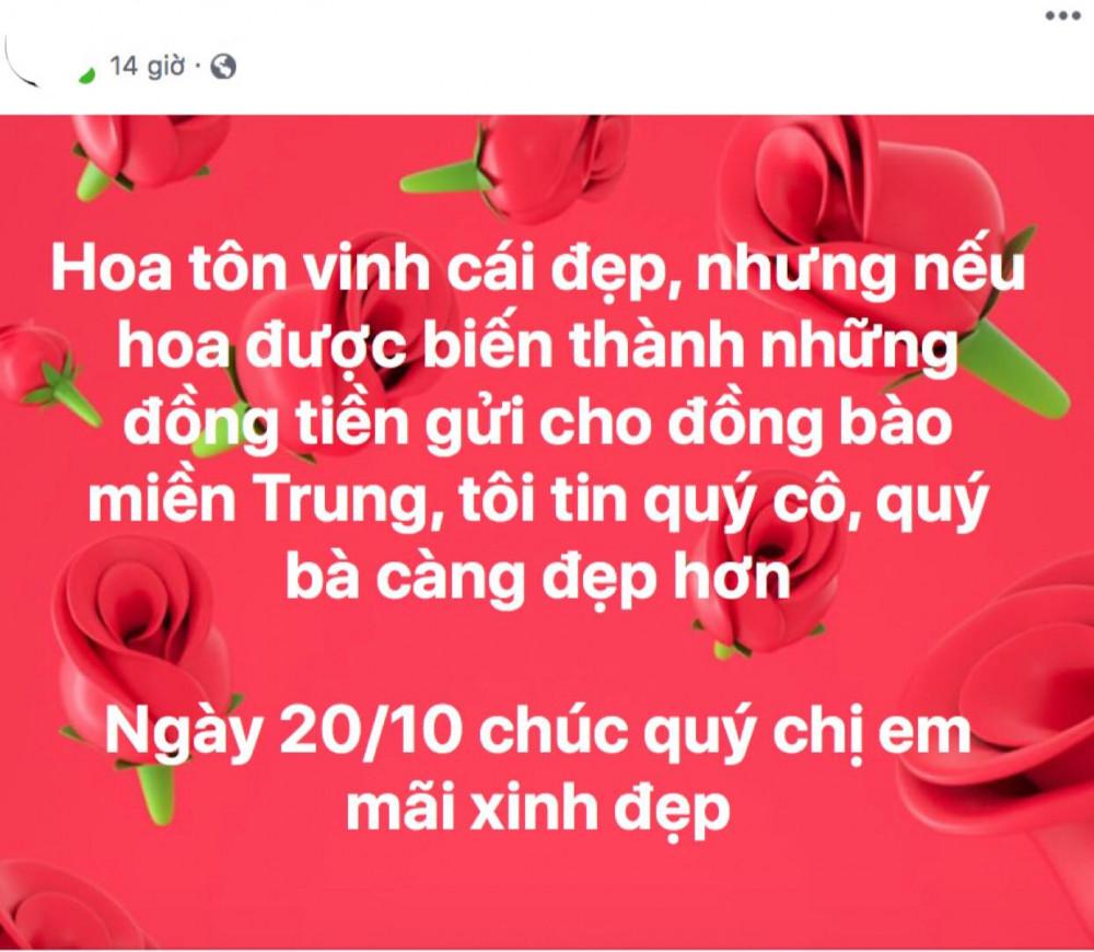 Lời kêu gọi ' Hãy nói không với hoaHãy nói không với hoa và quà, hãy chuyển thành điều gì đó thiết thực cho bà con miền Trung