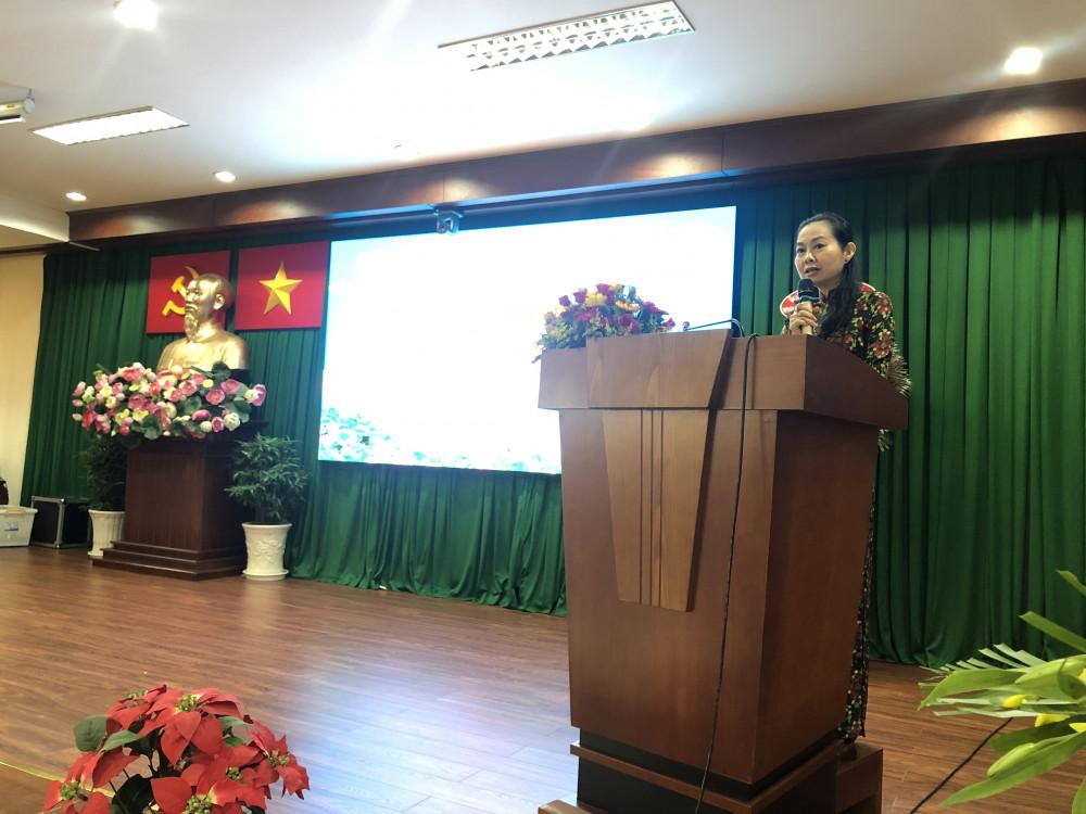 Bà Lâm Thị Ngọc Hoa - Phó Chủ tịch Hội liên hiệp Phụ Nữ Quận 7 nhắn nhủ về những nhiệm vụ đầy thách thức trong thời gian sắp tới. Ảnh: Thanh Huyền.