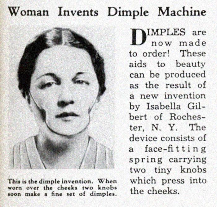 Quảng cáo thiết bị tạo má lúm năm 1936.