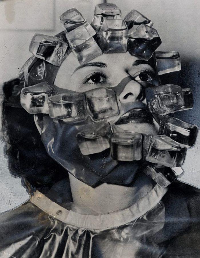 Mặt nạ nước đá để làm săn chắc cơ mặt vào năm 1931.