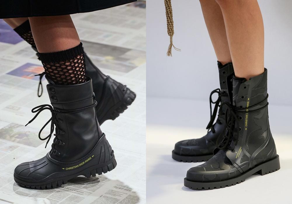 Các thương hiệu khác cho ra đời nhiều mẫu giày đi mưa có màu sắc nổi bật như hồng, đỏ, cam... Với Dior, Dior ưa chuộng kiểu ankle boot bằng ren, bằng da và tông màu tối cho những ai không thích sự phá cách và chú trọng đến sự đơn giản.