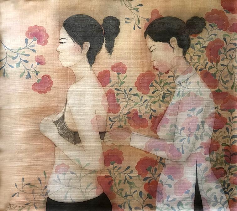 Người trợ giúp - một trong những tác phẩm thuộc triển lãm Ẩn hoa 2 của họa sĩ Châu Giang